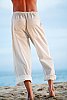 Kundalini yoga pant - cotton - loose-fitting - white - back view - Island Importer