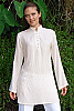 Sun tunic - striped linen-blend - white - side view - Island Importer