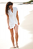 Mandarin tunic - Asian styled - casual - white - front view - Island Importer