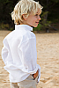 Boy's Long Sleeve White Linen Italian Shirt Beach Wedding Back