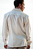 Men's Linen Long Sleeve White Italian Shirt Back