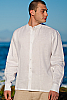 Men's Linen Nehru Collar White Long Sleeve Shirt Back