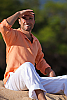 Men's Linen Long Sleeve Pullover Coral Shirt Front
