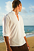 Men's Linen Open V-Neck White Long Sleeve Shirt Front