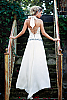 Beaded corset dress - sequins beads shells fresh-water pearls - white - front detail - Island Importer