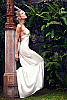 Pearl dress - double-layered halter - freshwater pearls - white - halter detail - Island Importer