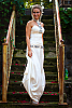 Beaded corset dress - sequins beads shells fresh-water pearls - white - front view - Island Importer