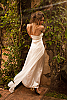 Silk chiffon halter dress - double-layer - custom order - white - front view - Island Importer