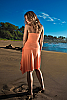 Cocktail dress - strapless - stretch-jersey - hip sash - salmon - front view - Island Importer
