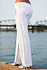 Drawstring linen surf pant - drawstring - casual - white - back view - Island Importer