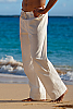 Men's Cotton Drawstring White Ivory Sailor Pants Back