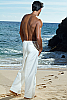 Men's Cotton Drawstring White Ivory Sailor Pants Side