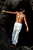 Cotton miramar pant - all-cotton - ivory - back view - Island Importer