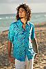 Men's Batik Island Hawaiian Short Sleeve Rayon Shirt Blue Green