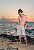 Men's Linen Casual Natural Khaki Beach Shorts Front