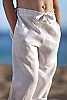Boy's Linen Drawstring Dress Pants Loose Fit White Tied