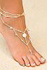 Foot jewelry - white - crystals glass beads - fresh water pearls - front view - Island Importer