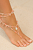 Foot jewelry - pink - crystals glass beads - fresh water pearls - front view - Island Importer