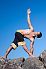 Batik fisherman yoga shorts - thai-style - black - side view - Island Importer