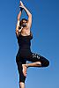 Bali om yoga pants - light-weight - Balinese Om screen print - black - detail view - Island Importer