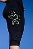 Bali om yoga pants - light-weight - Balinese Om screen print - black - back view - Island Importer