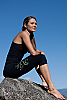 Bali om yoga pants - light-weight - Balinese Om screen print - black - side view - Island Importer