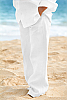 Boy's Linen White Italian Pants Beach Wedding Side