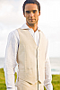 Men's Custom Linen Suit Vest Beach Weddings & Grooms Natural Back