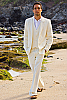 Men's Custom Silk-Blend Ivory Vest Pants Beach Wedding
