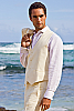 Men's Custom Silk-Blend Ivory Vest Beach Wedding Buttons