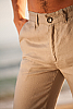 Men's Slim Fit Natural (Khaki) Linen Pants Beach Wedding Back