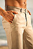 Men's Slim Fit Natural (Khaki) Linen Pants Beach Wedding Zip-Fly