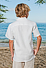 Boy's White Linen Short Sleeve Italian Shirt Back