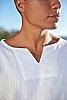 Gauze lanai shirt - Asian style pullover - white - cuff detail - Island Importer