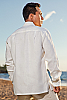 Men's Linen Nehru Collar White Long Sleeve Shirt Collar Open