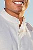 Ceylon shirt - Nehru collar - Eastern look - Amalfi shirt - white - collar view - Island Importer
