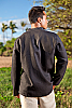 Linen oasis shirt - Asian inspired collar - open neck-line - black - back view - Island Importer