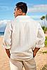 Men's Linen Long Sleeve Pullover Ivory Shirt Back