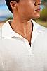 Men's Linen Long Sleeve Pullover Ivory Shirt Collar