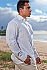 Bamboo amalfi shirt - Italian design - Roma collar - white - side view - Island Importer
