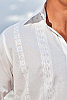 Men's Cotton White Long Sleeve Shirt Beach Wedding Close Up