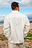 Men's Linen Traveler Long Sleeve White Shirt Back