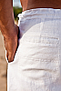 Men's Linen Drawstring Loose Fit White Pants Back-Slit Pocket