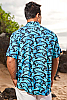 Men's Shark Batik Island Hawaiian Short Sleeve Rayon Shirt Collar