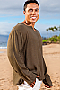 Men's Gauze Linen Long Sleeve Dark Green Beach Shirt Open V-Neck