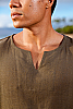 Gauze lanai shirt - Asian style pullover - natural - back view- Island Importer