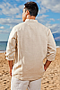Men's Linen Open V-Neck Natural Long Sleeve Shirt Back