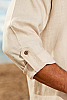 Men's Linen Open V-Neck Natural Long Sleeve Shirt Epaulet Sleeves