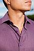 Linen amalfi shirt (SS) - Italian design - Roma collar - Eggplant - side view - Island Importer