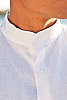 Men's Linen Nehru Collar White Long Sleeve Shirt Front